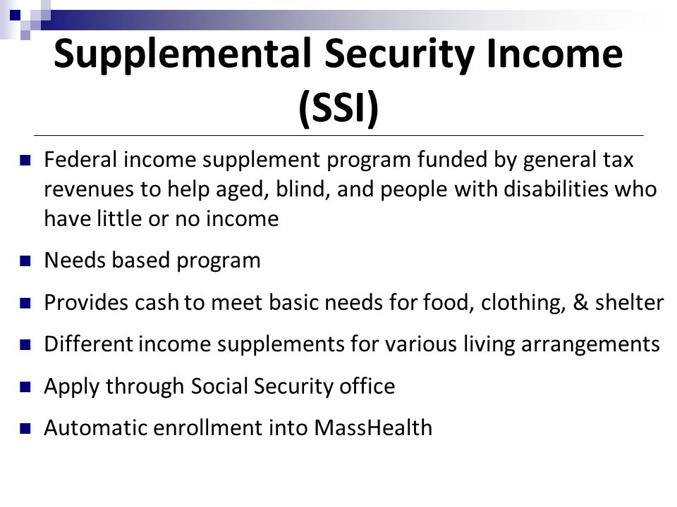 Supplemental Security Income Ssi Program  Social Work