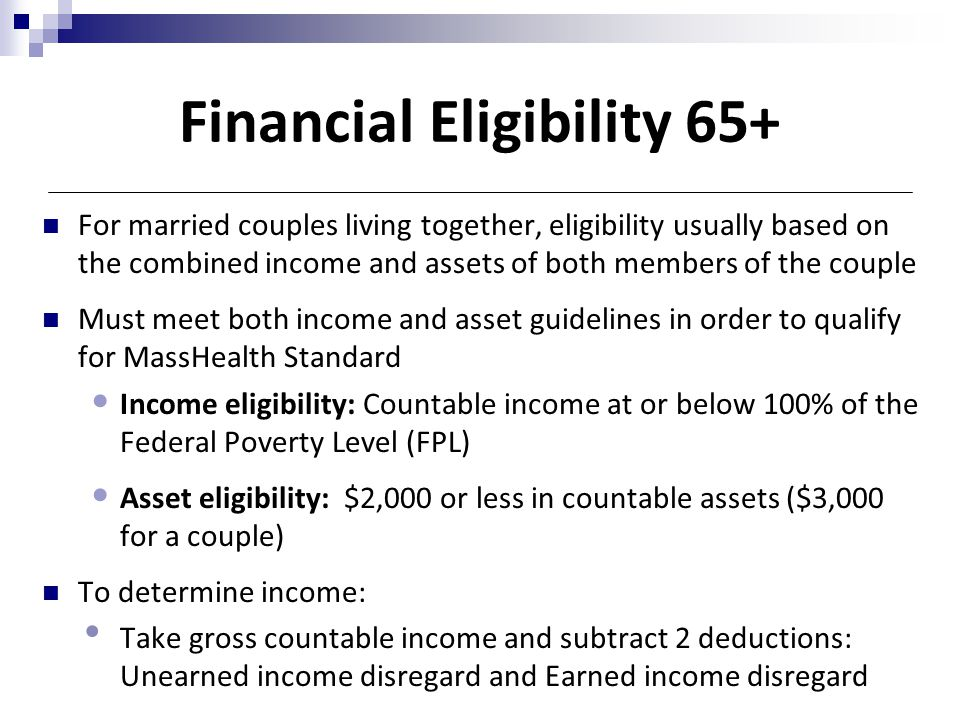 Financial Eligibility 65+