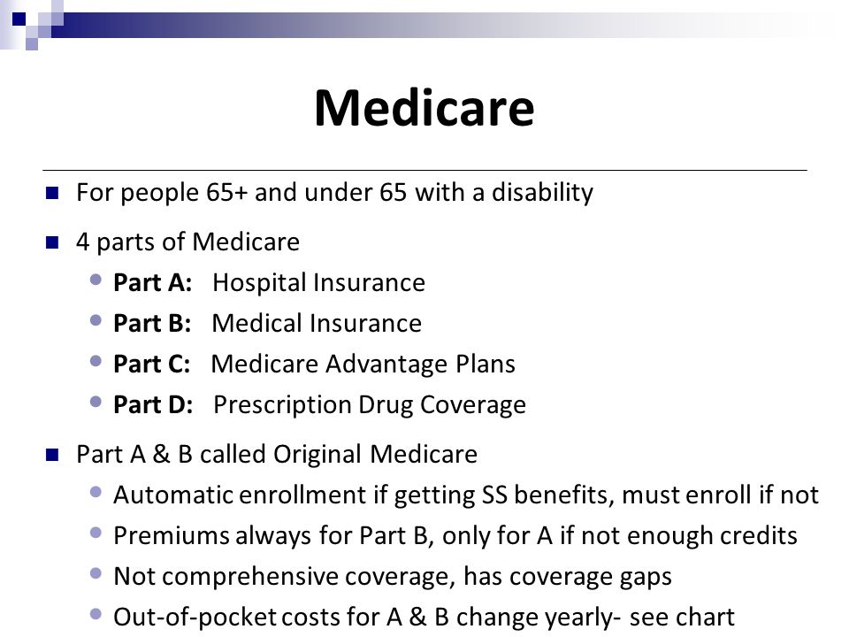 Medicare For people 65+ and under 65 with a disability