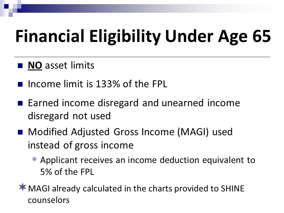 Financial Eligibility Under Age 65