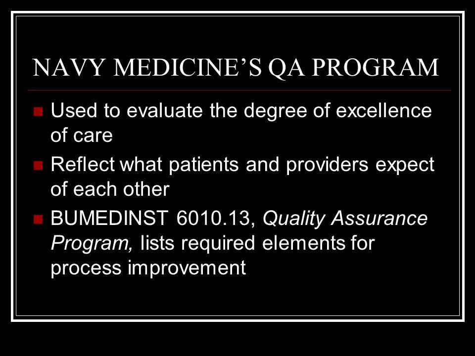 NAVY MEDICINE'S QA PROGRAM