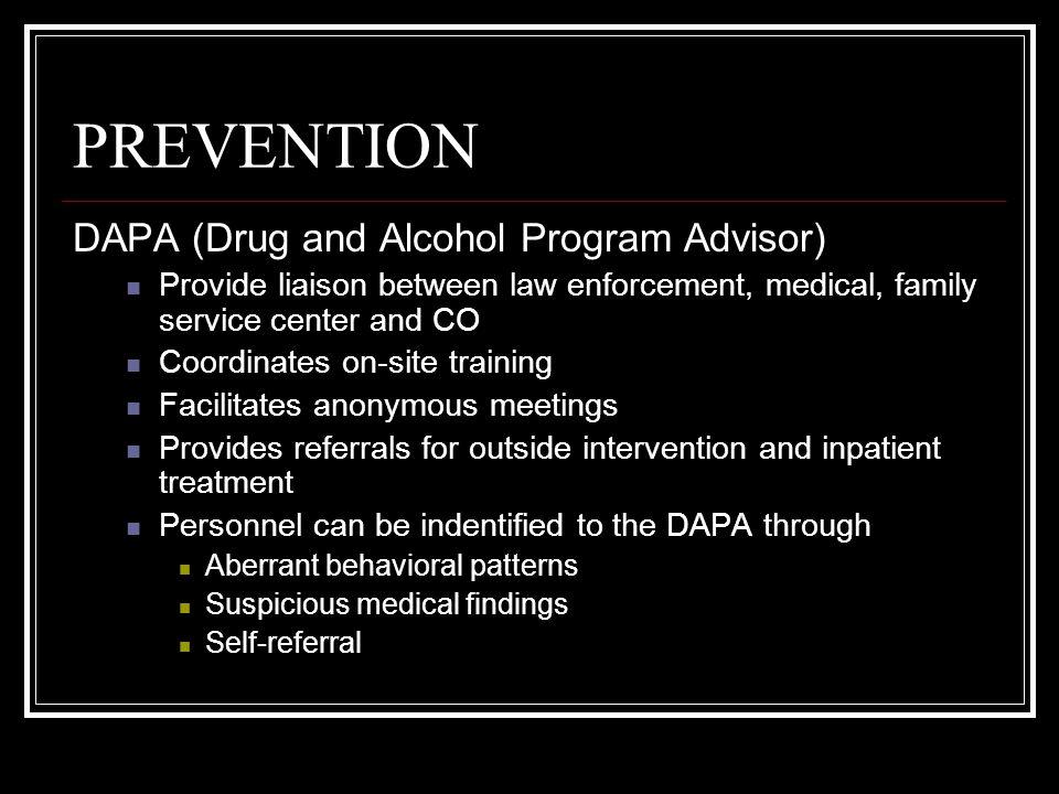 PREVENTION DAPA (Drug and Alcohol Program Advisor)
