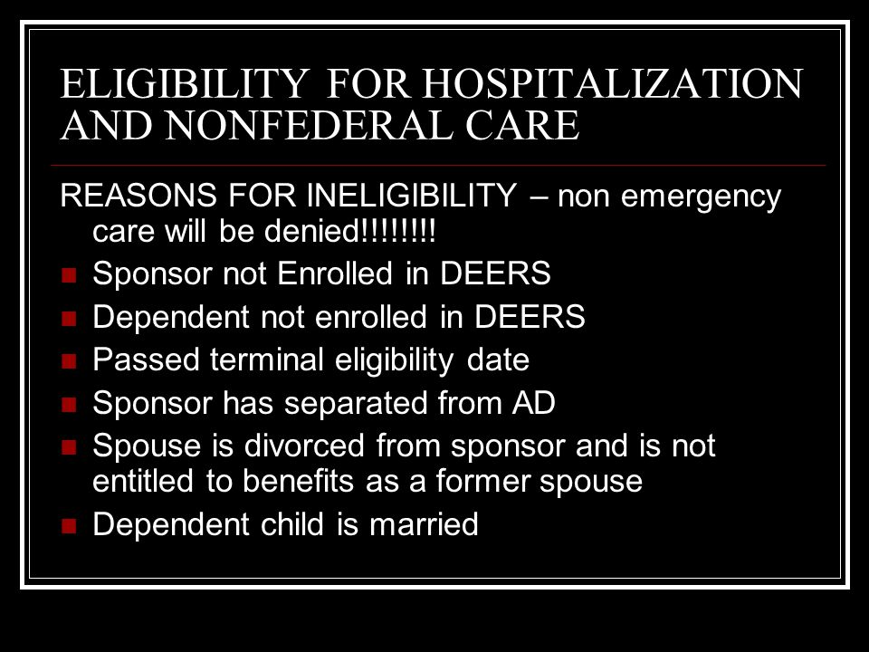 ELIGIBILITY FOR HOSPITALIZATION AND NONFEDERAL CARE