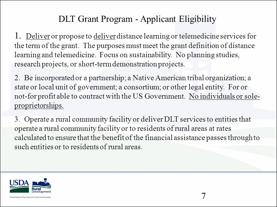 DLT Grant Program - Applicant Eligibility