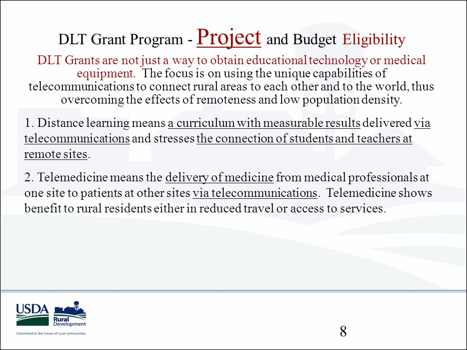 DLT Grant Program - Project and Budget Eligibility