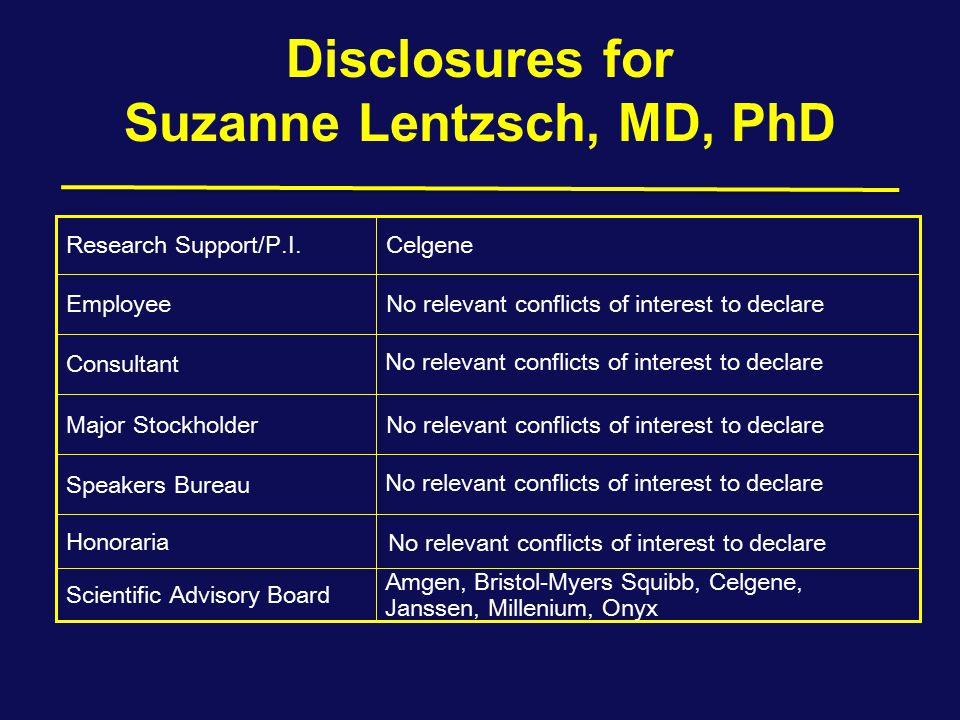 Disclosures for Suzanne Lentzsch, MD, PhD