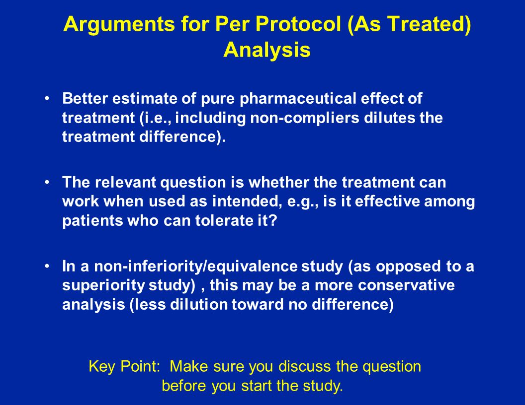 Arguments for Per Protocol (As Treated) Analysis