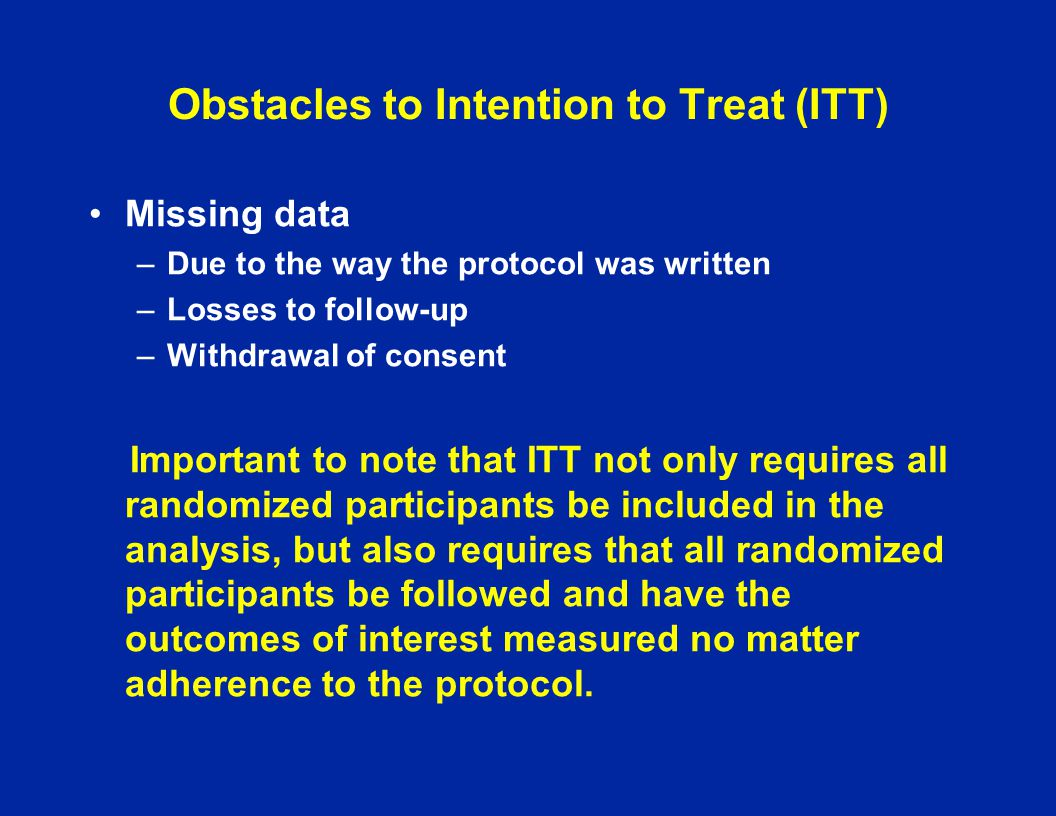 Obstacles to Intention to Treat (ITT)