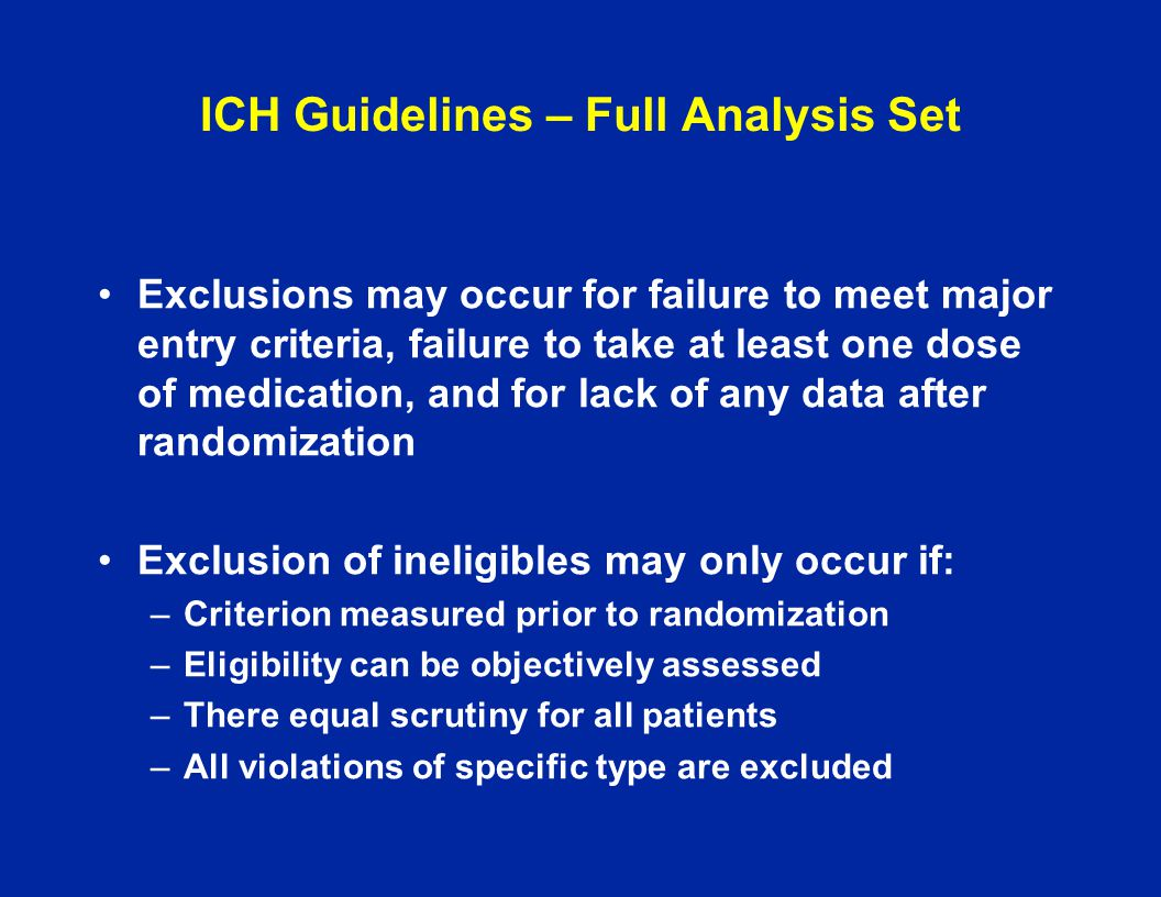 ICH Guidelines – Full Analysis Set