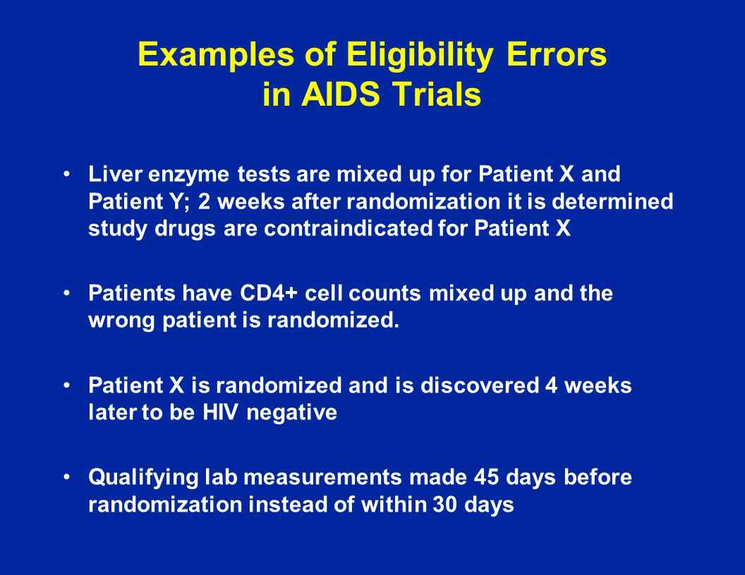 Examples of Eligibility Errors in AIDS Trials