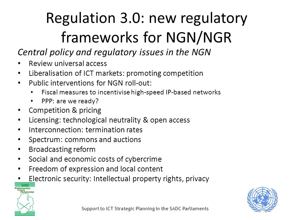 Regulation 3.0: new regulatory frameworks for NGN/NGR