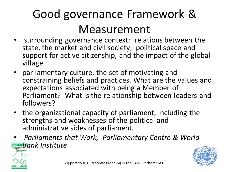 Good governance Framework & Measurement