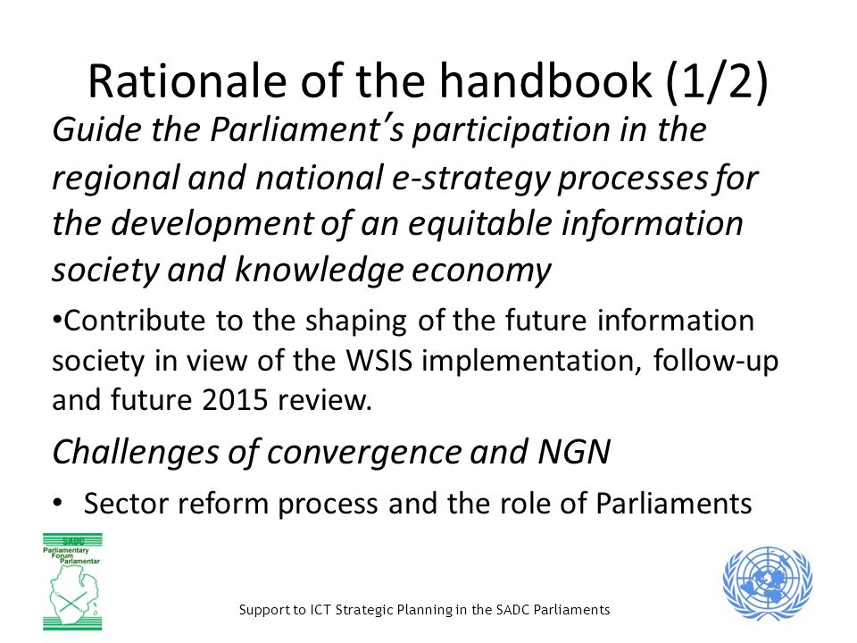 Rationale of the handbook (1/2)