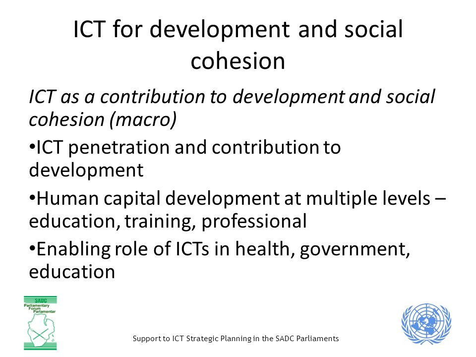 ICT for development and social cohesion