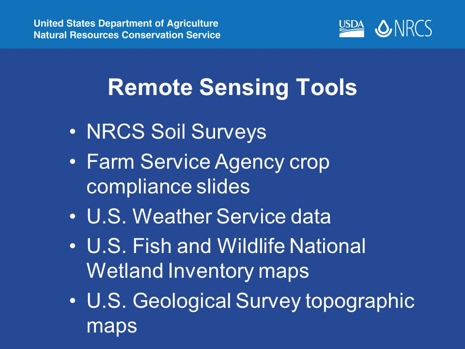 Remote Sensing Tools NRCS Soil Surveys