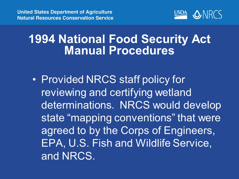 1994 National Food Security Act Manual Procedures