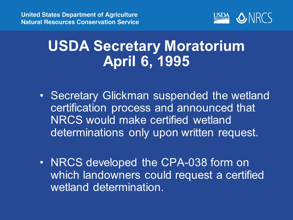 USDA Secretary Moratorium April 6, 1995