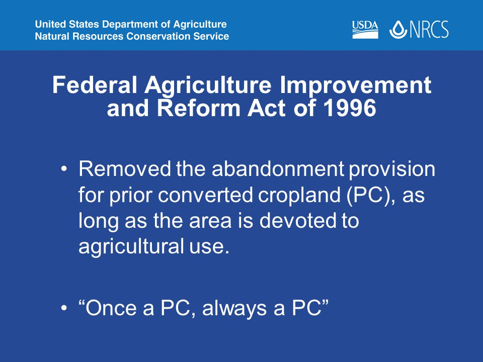 Federal Agriculture Improvement and Reform Act of 1996