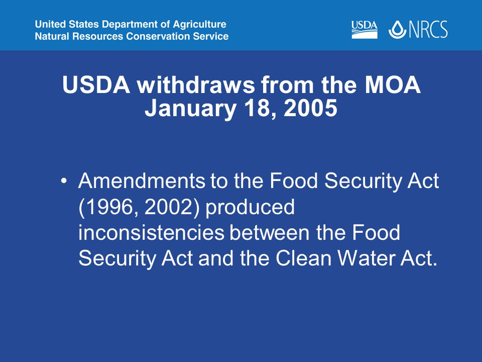 USDA withdraws from the MOA January 18, 2005