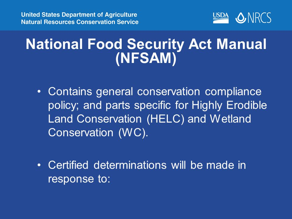 National Food Security Act Manual (NFSAM)