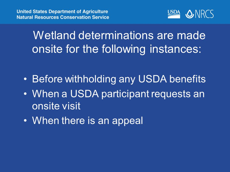 Wetland determinations are made onsite for the following instances: