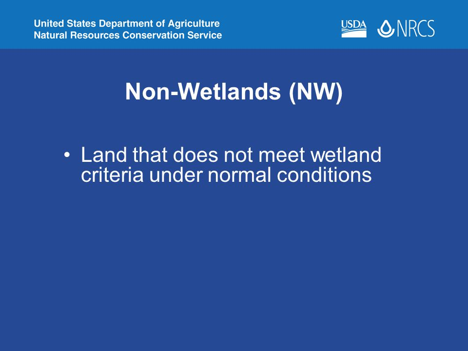 Non-Wetlands (NW) Land that does not meet wetland criteria under normal conditions