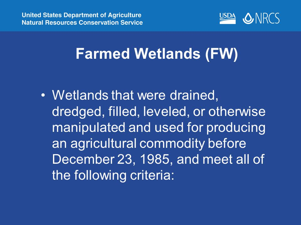 Farmed Wetlands (FW)