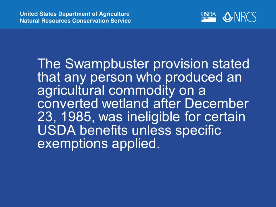 The Swampbuster provision stated that any person who produced an agricultural commodity on a converted wetland after December 23, 1985, was ineligible for certain USDA benefits unless specific exemptions applied.