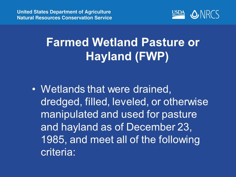 Farmed Wetland Pasture or Hayland (FWP)