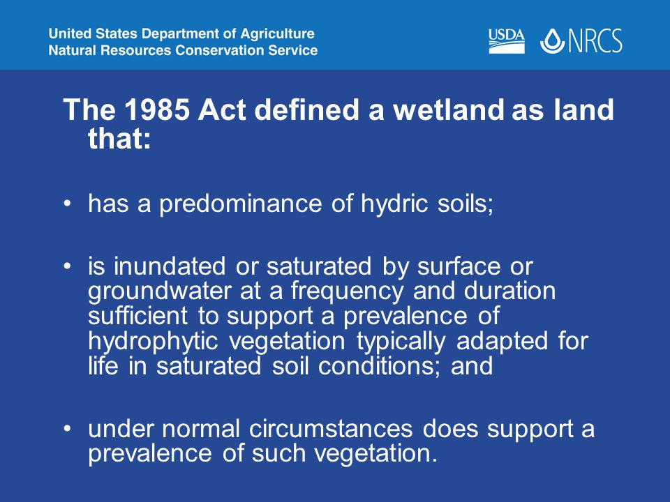 The 1985 Act defined a wetland as land that: