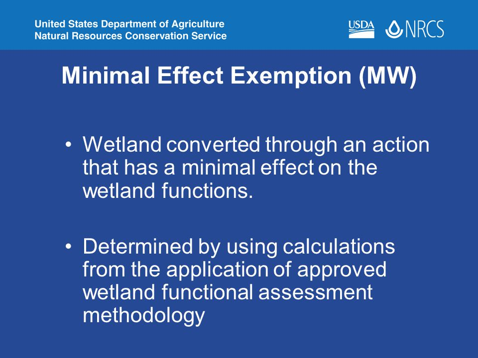 Minimal Effect Exemption (MW)