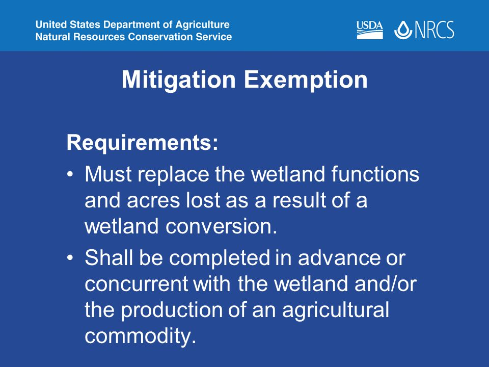 Mitigation Exemption Requirements: