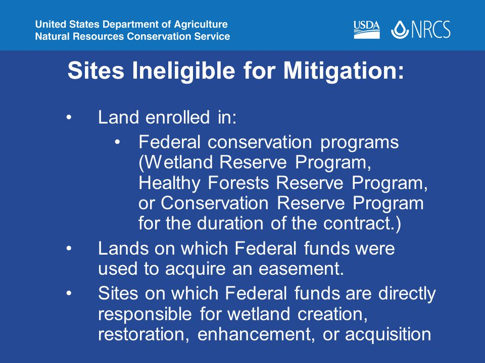 Sites Ineligible for Mitigation: