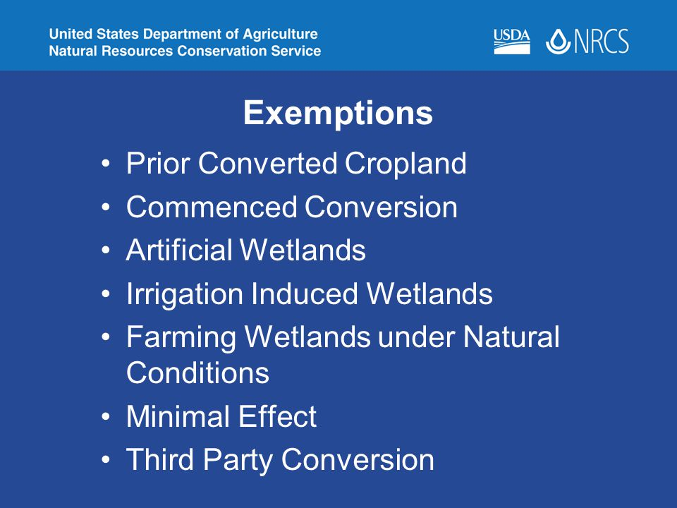 Exemptions Prior Converted Cropland Commenced Conversion