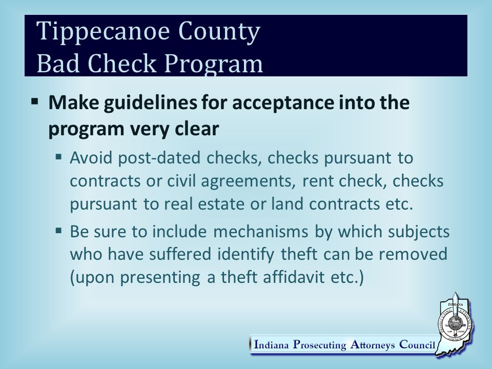 Tippecanoe County Bad Check Program