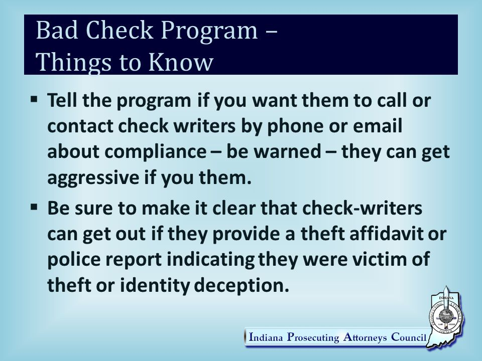 Bad Check Program – Things to Know