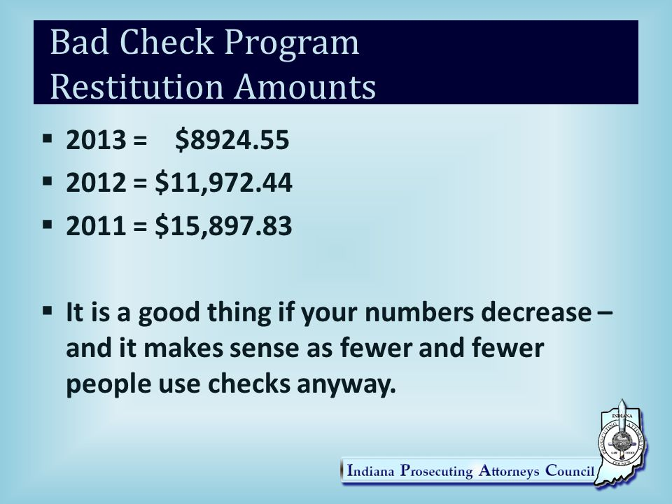 Bad Check Program Restitution Amounts