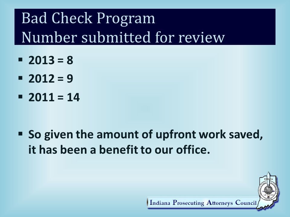 Bad Check Program Number submitted for review
