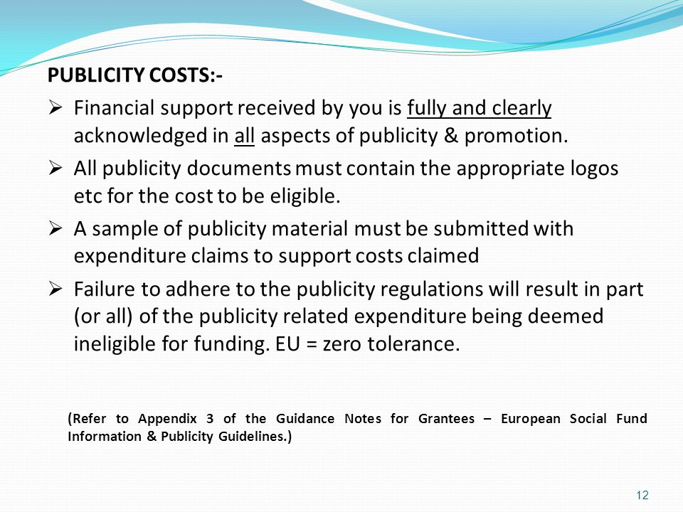 PUBLICITY COSTS:- Financial support received by you is fully and clearly acknowledged in all aspects of publicity & promotion.