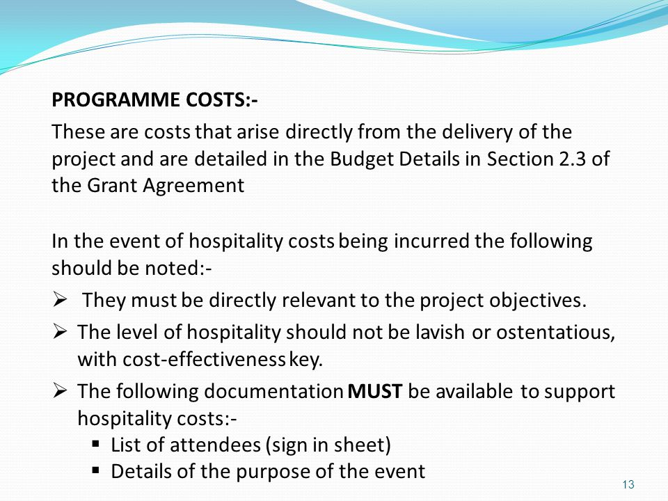 PROGRAMME COSTS:-