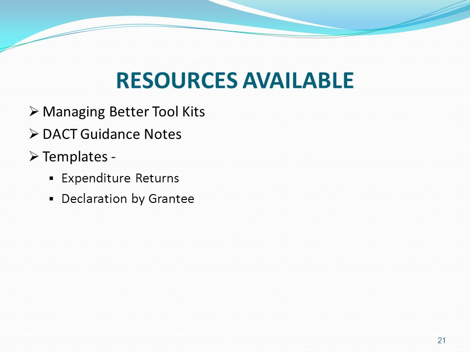 RESOURCES AVAILABLE Managing Better Tool Kits DACT Guidance Notes