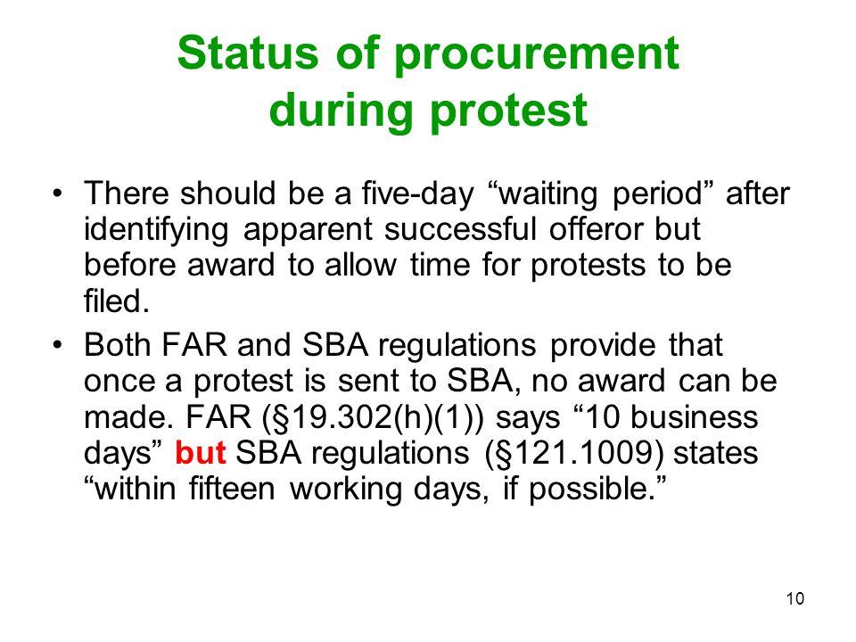 Status of procurement during protest