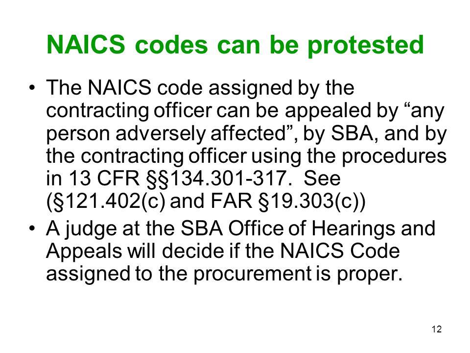 NAICS codes can be protested