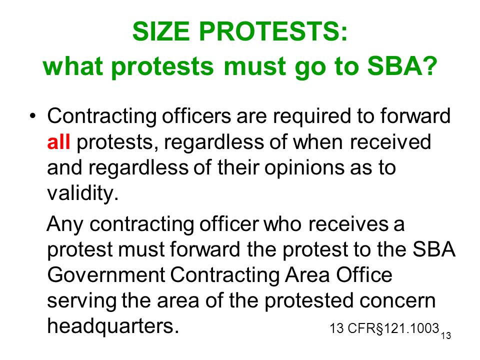 SIZE PROTESTS: what protests must go to SBA