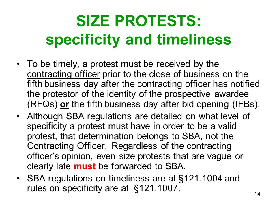 SIZE PROTESTS: specificity and timeliness