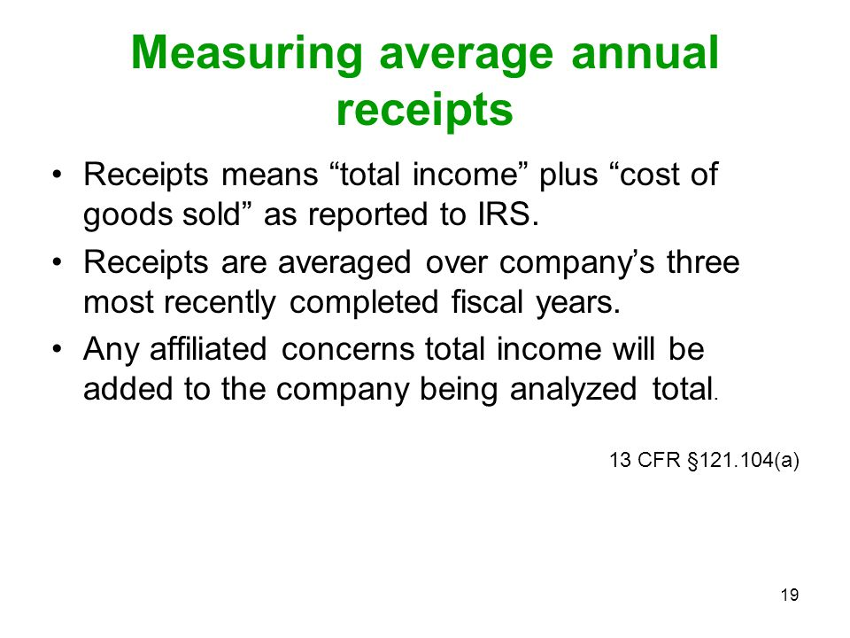 Measuring average annual receipts