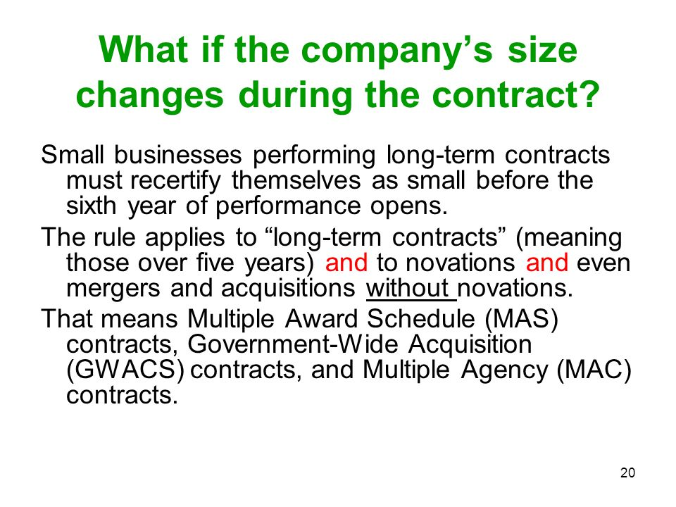 What if the company's size changes during the contract