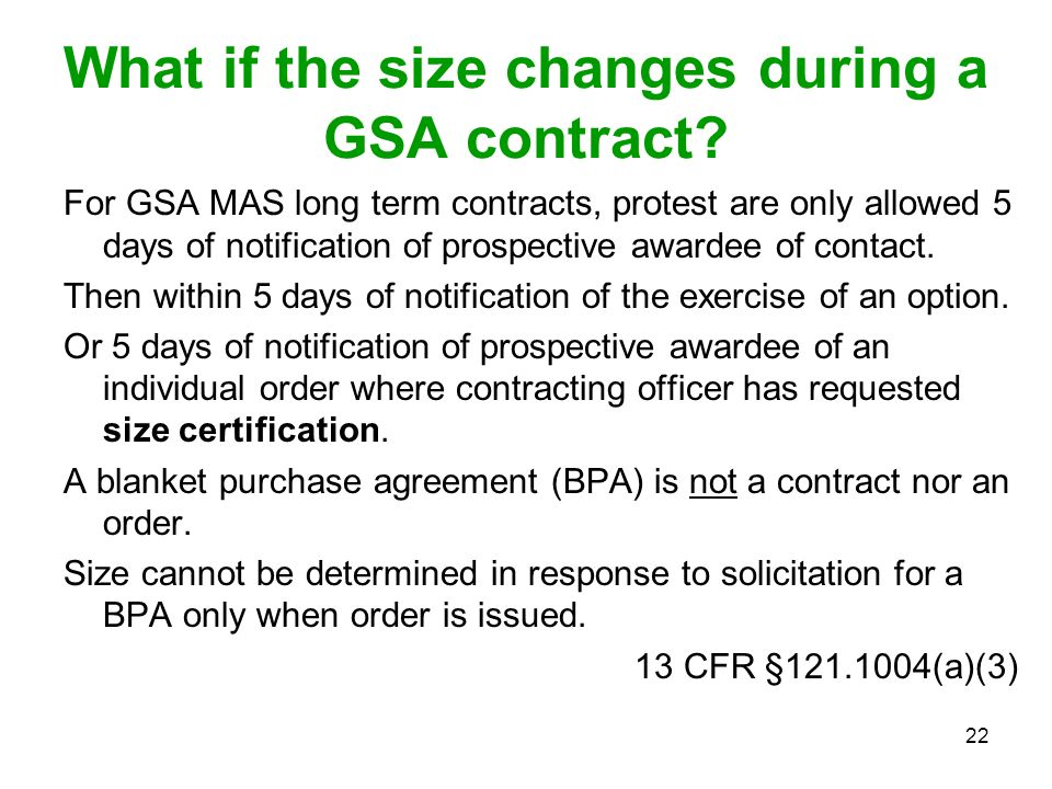 What if the size changes during a GSA contract