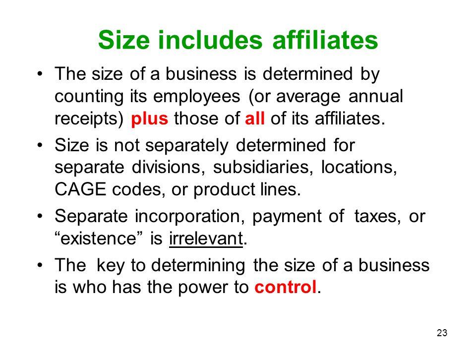 Size includes affiliates