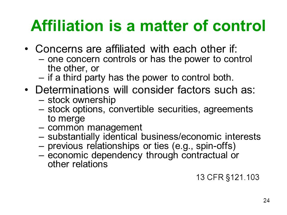 Affiliation is a matter of control